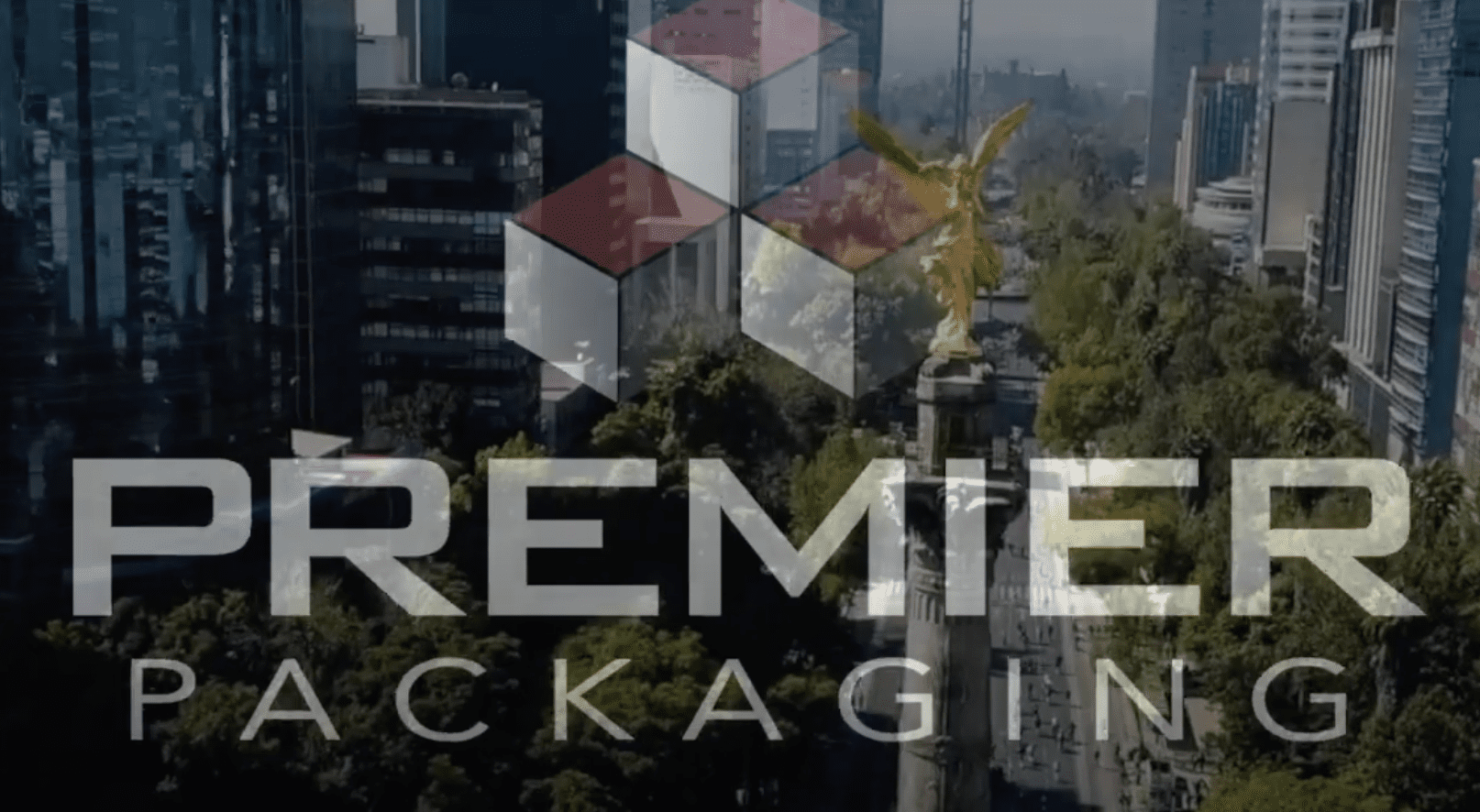 Premier Packaging logo overlayed on video of Mexico City